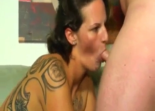 Tattooed mommy means business with her son