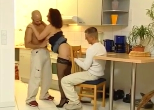 Mother fucks her son and his friend