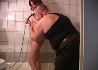 Fat dad joins naked daughter in the shower