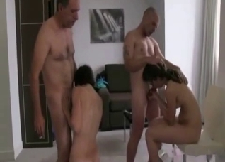 Son, father, daughter and mom have sex