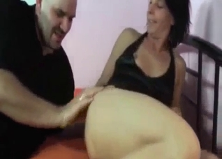 Big father uses his daughter as an escort
