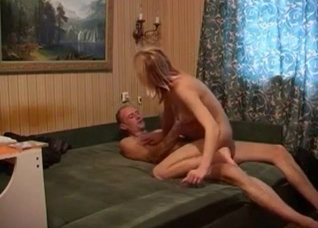 Russian grandpa and hot daughter fucking