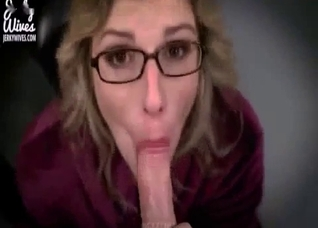 Dirty talking mommy milks a dick on her knees