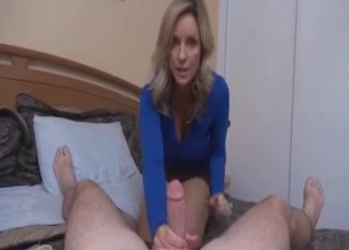 Mom dirty talks and gives a handjob