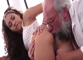 Grandpa licks her booty and fucks her pussy