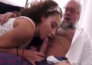 Young girl kissing and sucking grandpa's dong