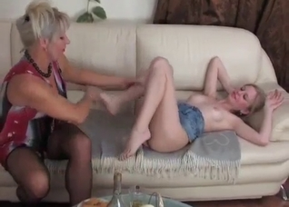 Drunk mom enjoys lesbo sex with her daughter