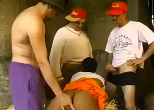 Three rednecks brothers fucking a black babe