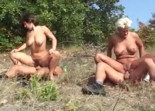 Hardcore family incest outdoors