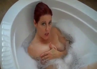 Dirty talking mother in bath with son