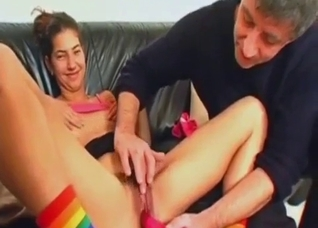 Father helps his daughter reach orgasm