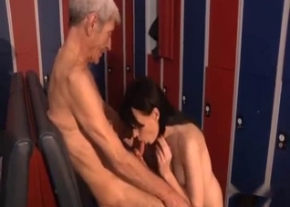 Teen babe is working on grandpa's cock