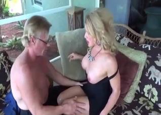 Muscular grandpa and his hot mature daughter