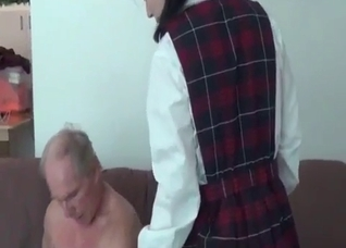 Schoolgirl with pink muff fucked by dad