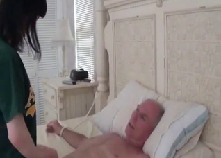 Girl ties up a sleeping grandpa to fuck him