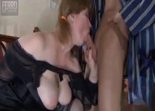 Skinny boy having sex with mom in stockings