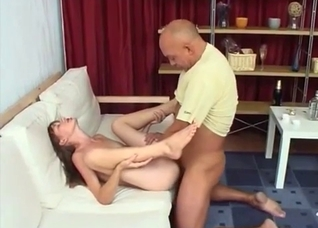 Anal virgin gets it in the asshole from dad