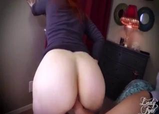 Redhead MILF gets son's big cock