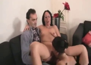 Intense threesome with mom and daughter