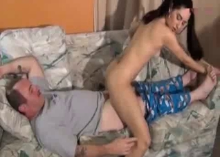 Daughter rubs her cunt on daddy