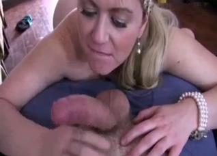 Blonde mommy fucking son in POV