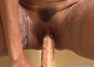 Mommy dirty talks while showing her holes