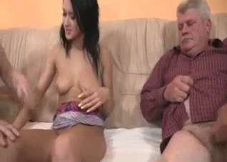 Filthy old couple seduce young hot daughter