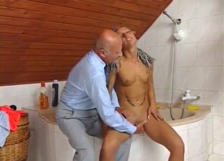 Grandpa lets her suck his hard cock