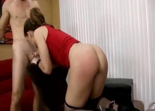 Daughter comes to office in sexy stockings