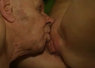 Grandpa licking his granddaughter's pussy