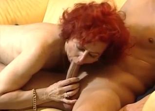 Slim granny fucks her young grandson
