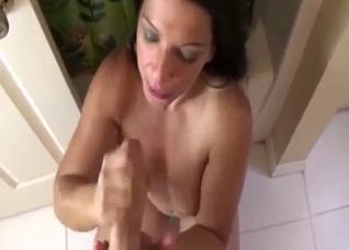Naughty mother sucks and titty fucks in POV