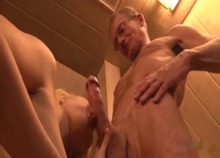 Young blonde blowing her bodybuilder grandpa