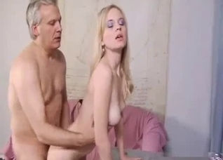 Grandpa uses this girl's throat and pussy